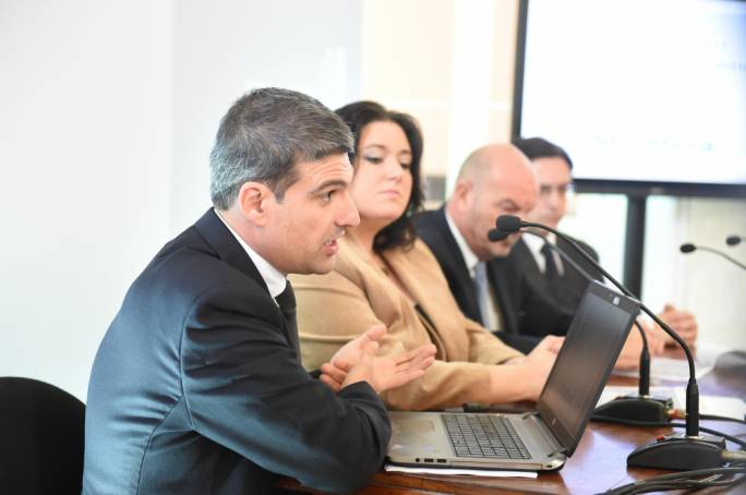 Robert Musumeci (left) and Deborah Schembri during the start of the public consultation on the Lands Authority reform