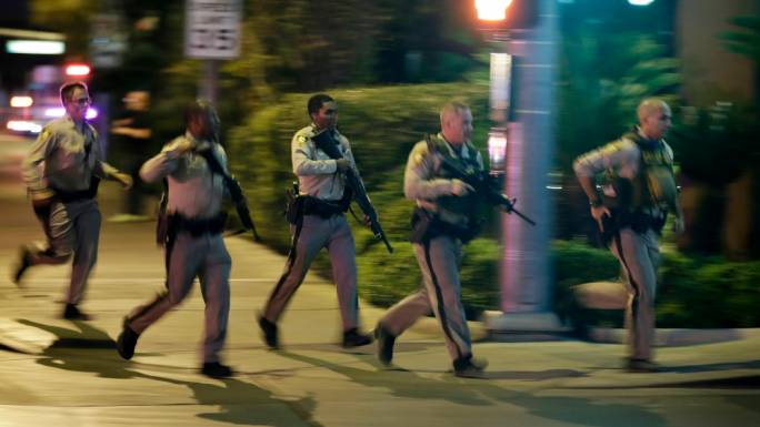 Los Angeles law enforcement officers responding to the scene at the open-air music festival (Photo: WSB Radio)