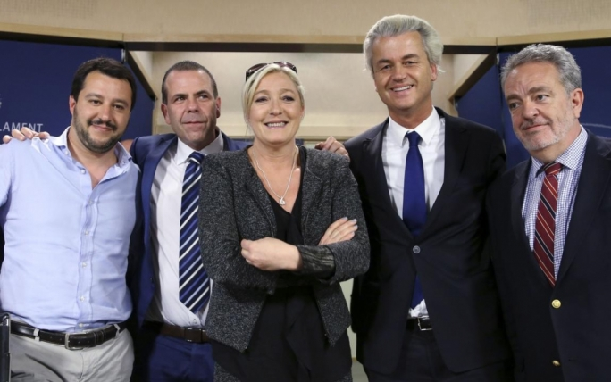 Agents of mistrust: the far-right figureheads of Europe: Lega Nord's Matteo Salvini, Austria's far-right Freedom Party member Harald Vilimsky, Marine Le Pen, France's National Front political party head, Dutch far-right Freedom Party (PVV) leader Geert Wilders and Belgium's Flemish Bloc member Gerolf Annemans