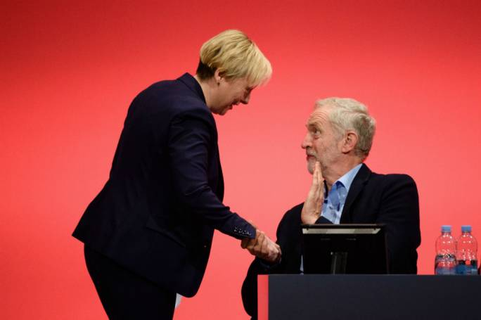Labour leader Jeremy Corbyn (right) with leadership challenger Angela Eagle