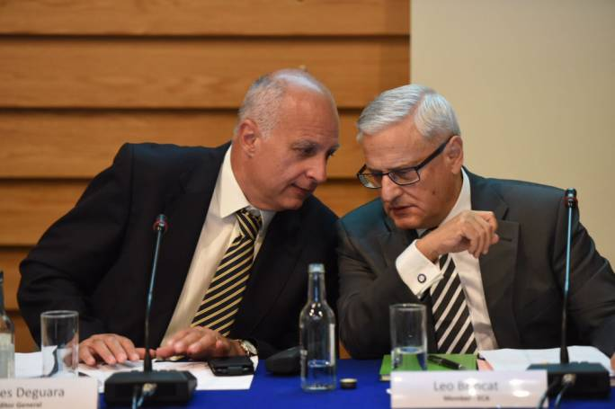 Auditor General Charles Deguara with member of the European Court of Auditors, Leo Brincat (Photo: James Bianchi/MediaToday)