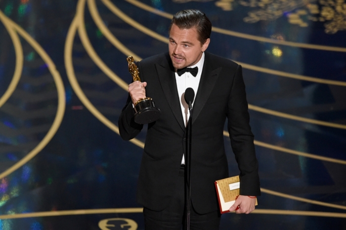 Leonardo DiCaprio collects his first Academy Award win for his performance in The Revenant and makes a statement for climate change in his speech