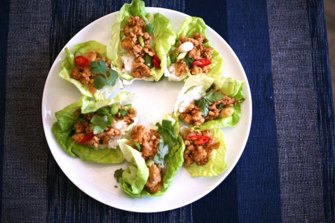 Oriental chicken lettuce cups