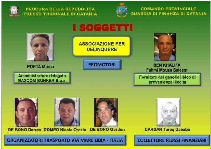 The list of suspects issued by the Catanese prosecutor