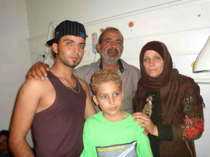 A Palestinian family which was rescued at sea on Friday.