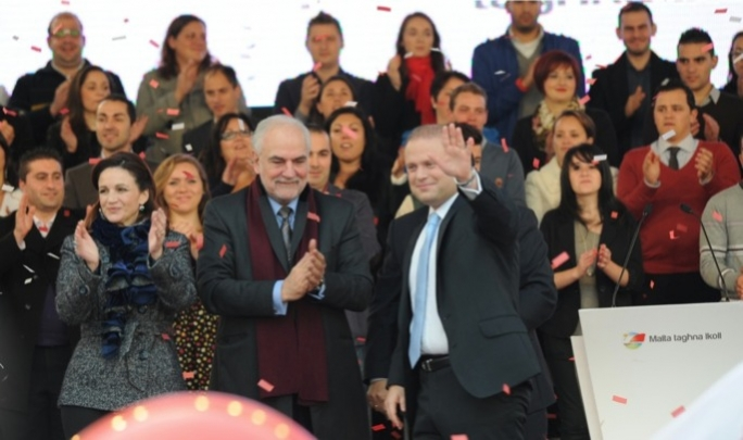 Labour leader Joseph Muscat together with deputy leader Louis Grech and his wife Michelle.