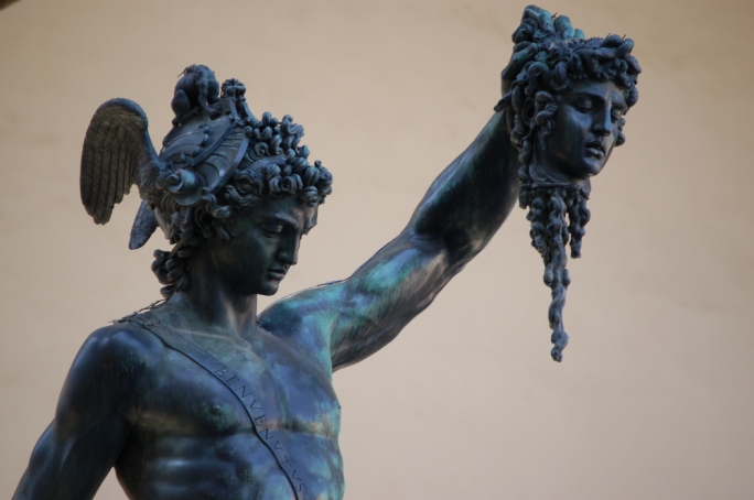 "Vella: ""The image of Perseus holding the head of the Medusa to represent the role of the war photographer"""