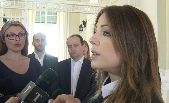 Singer Ira Losco addresses the press after a meeting with the Prime Minister