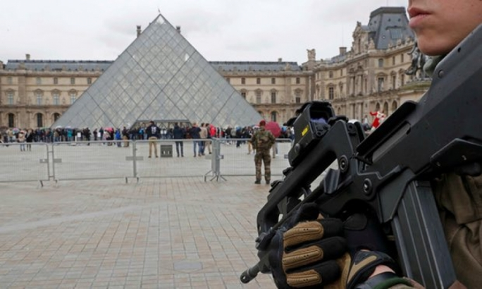 The soldier was patrolling as part of the Operation Sentenelle foot-patrols around the Louvre