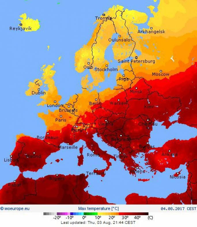 Europe's soaring temperatures picture: WeatherOnline