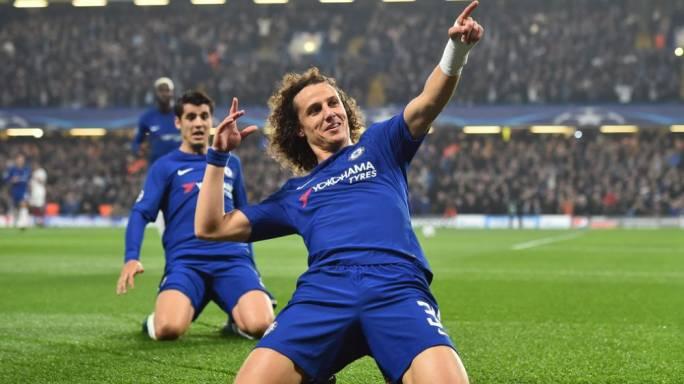 David Luiz of Chelsea celebrating after scoring against Roma