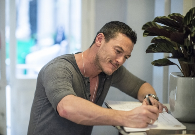 Luke Evans signs the guest book at Casa Ellul. Photo: Ray Attard/Mediatoday