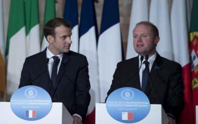 Finding common ground: Emmanuel Macron and Joseph Muscat (Photo: DOI/Jason Borg)