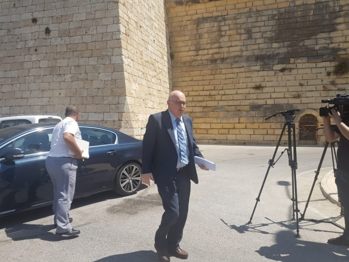 Magistrate Joe Mifsud arrives at the on-site inspection