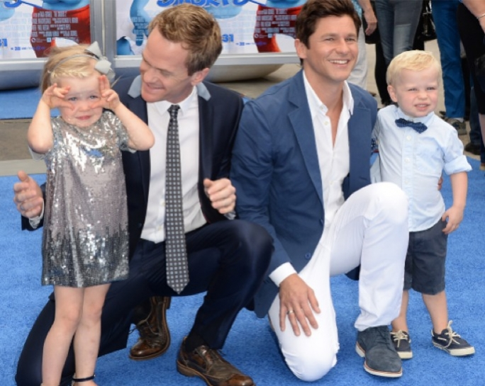 Actor Neil Patrick Harris (left) and his fiance David Butka (right) had twins by a surrogate mother – Harper Grace (left) and Gideon Scott (right)
