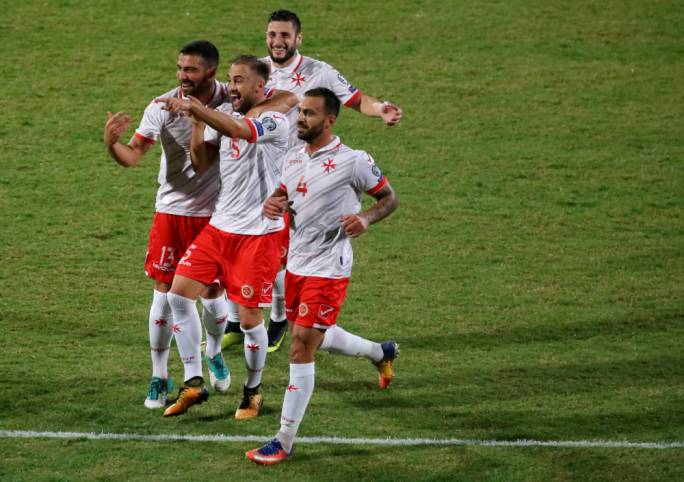 Malta celebrate after their goal against Lithuania. Photo by Christine Borg