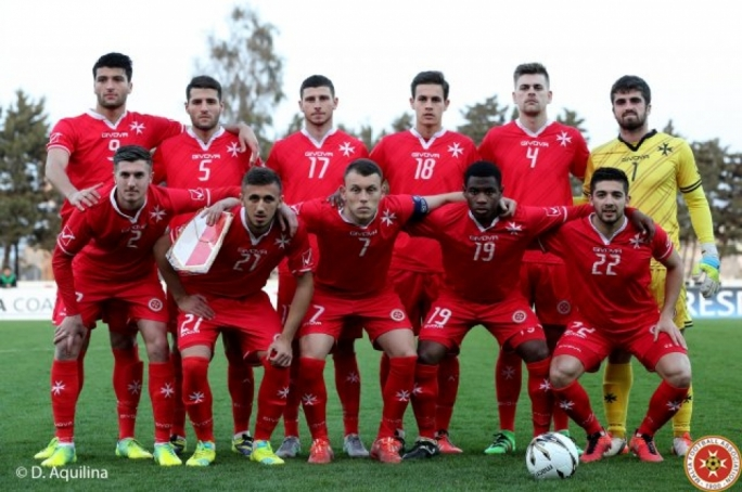 The line-up for the Malta-Montenegro U-21 match. Photo: Dominic Aquilina