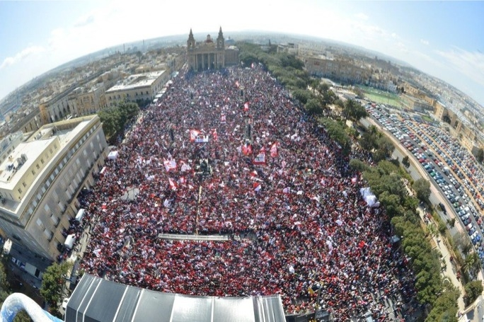 Labour's mass meeting in Floriana yesterday afternoon.