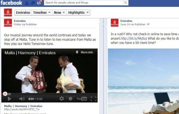 Ruben Zahra playing the bagpipe, known as iz-Zaqq, accompanied by accordion player Andrew Micallef on Emirates Facebook channel. The video placed online last weekend got more than 500 likes in just two days.