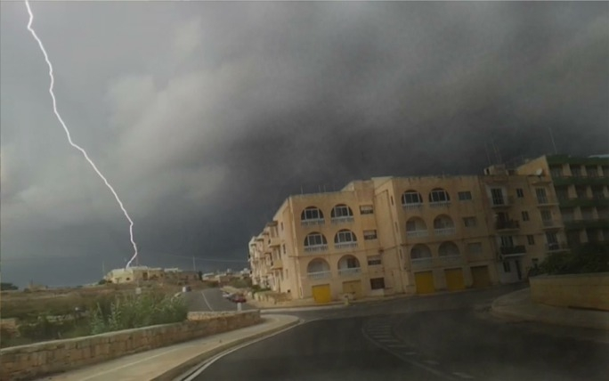 Police have confirmed the death of a Marsascala man from lightning. Picture shows lightning strike in Birzebbugia, taken by Oliver Tabone.