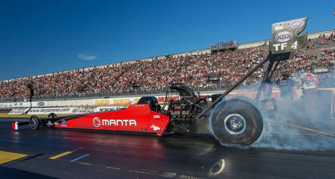 Maltese drag racer Duncan Micallef competing at the European Drag Racing Championships in Sweden
