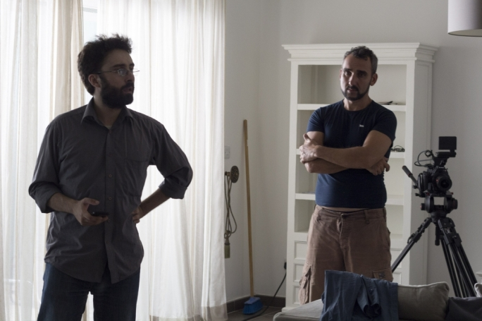 Director Martin Bonnici and actor Mark Doneo on the set of Lagha ma Mara Morbi