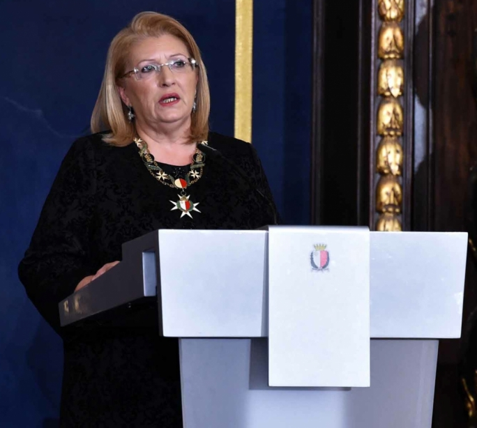 President Marie Louise Coleiro Preca giving an address on Republic Day (Photo: DOI/Jeremy Wonacott)