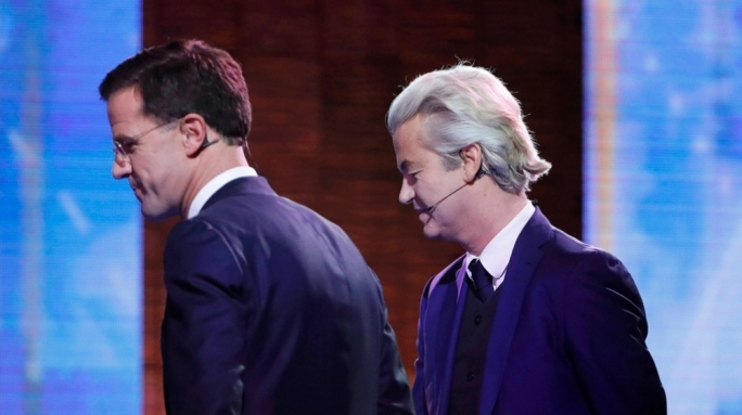 Prime Minister Mark Rutte, 33 seats, and (right) Geert Wilders, 20