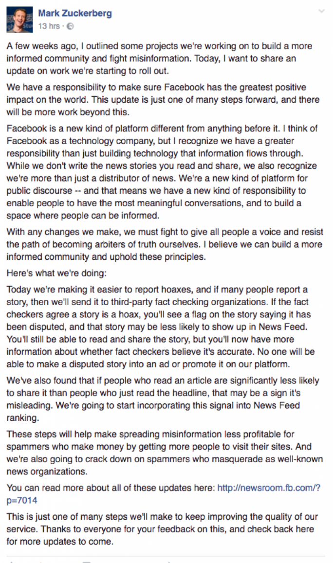 Facebook founder Mark Zuckerberg recognises the importance of Facebook in the spreading of information