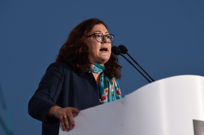 Partit Demokratiku leader Marlene Farrugia addresses a mass meeting. Photo: James Bianchi