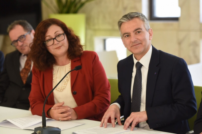 Marlene Farrugia and Simon Busuttil: their coalition enabled the breakaway Labour MPs Marlene and Godfrey Farrugia to be elected on a PN ticket as PD MPs