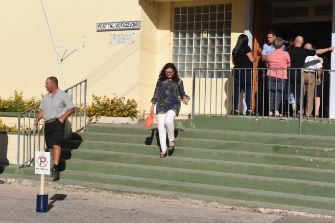 Partit Demokratiku leader Marlene Farrugia leaving the polling station shortly after 8am