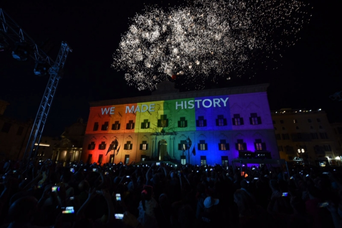 Celebrations at Castille Square after parliament  voted in favour to legalise same-sex marriage (Photo: James Bianchi)