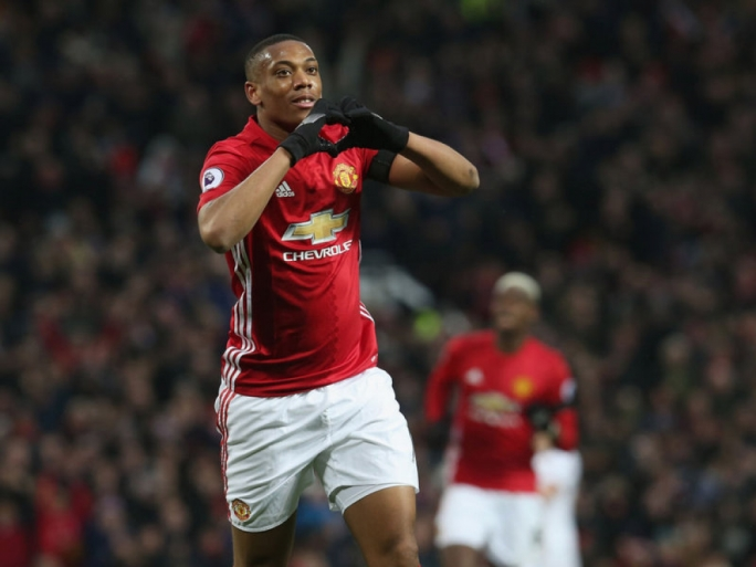 Anthony Martial celebrating his goal against Watford
