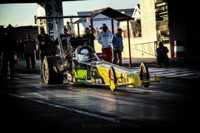 Matthew Carabott in his Top Alcohol Dragster