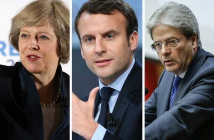 Theresa May, Emmanuel Macron and Paolo Gentiloni expect companies to go 'further and faster'