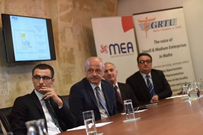 Parliamentary secretary Silvio Schembri with MCA chairman, Edward Woods (Photo: James Bianchi/MediaToday)