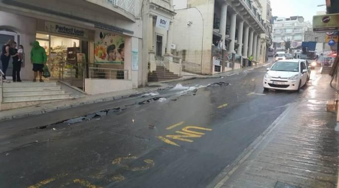 Damages to Mellieha's main road, Triq Borg Olivier