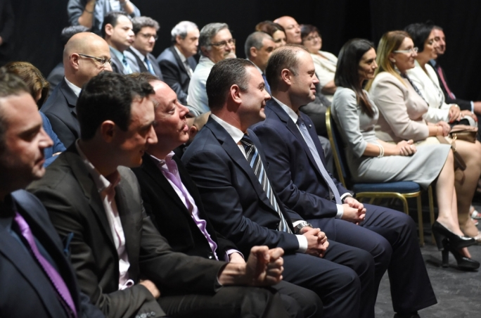 Culture Minister Owen Bonnici and Prime Minister Joseph Muscat during the launch of the Meludia programme in Malta