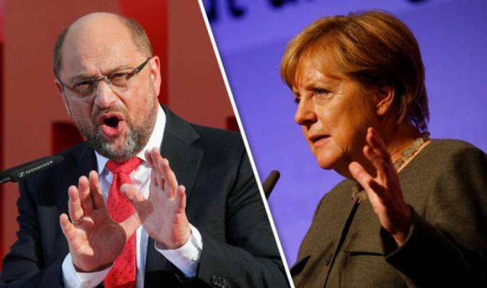 Anegla Merkel faces off against Martin Schulz, the former president of the European Parliament