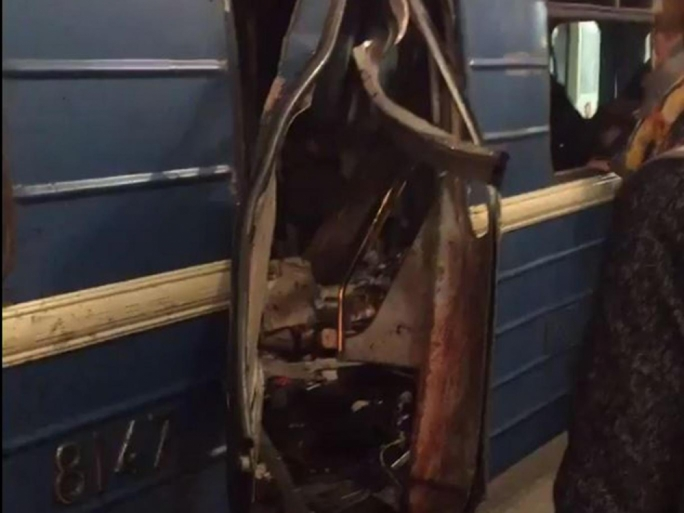 Images posted on social media showed a train carriage with its doors blown out