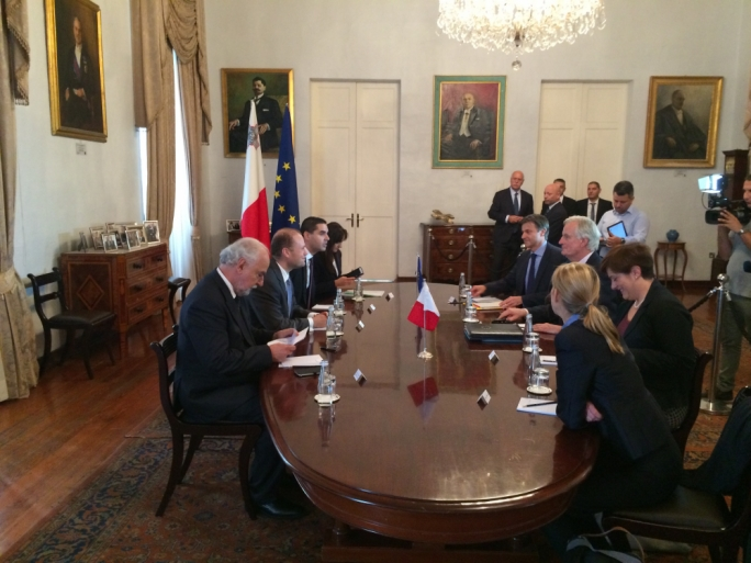 Michel Barnier (right) is meeting Malta prime minister Joseph Muscat