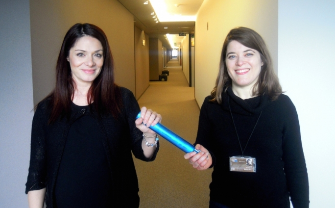 Miriam Dalli together with Autism Europe director Aurelie Baranger as part of the World Autism Day campaign 'Respect, Acceptance, Inclusion'