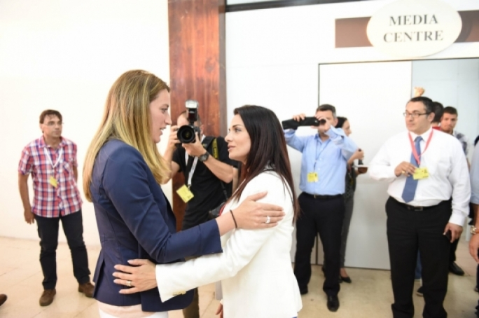 Roberta Metsola and Miriam Dalli at the Naxxar counting hall during the 2014 elections. Photo: Ray Attard