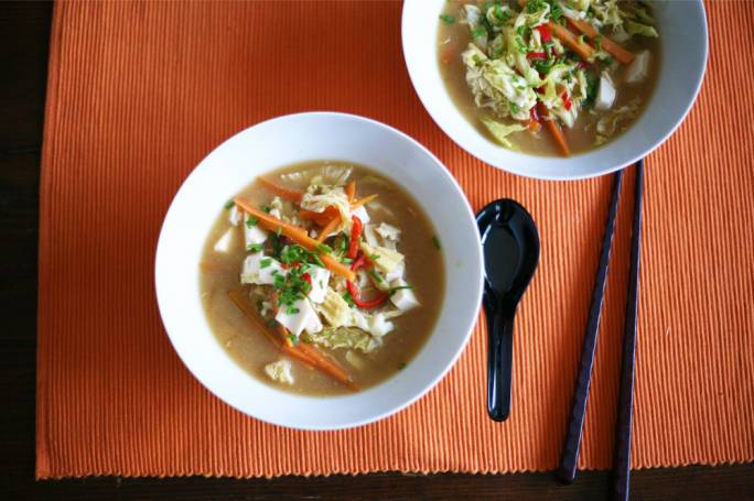 Cabbage and tofu miso soup