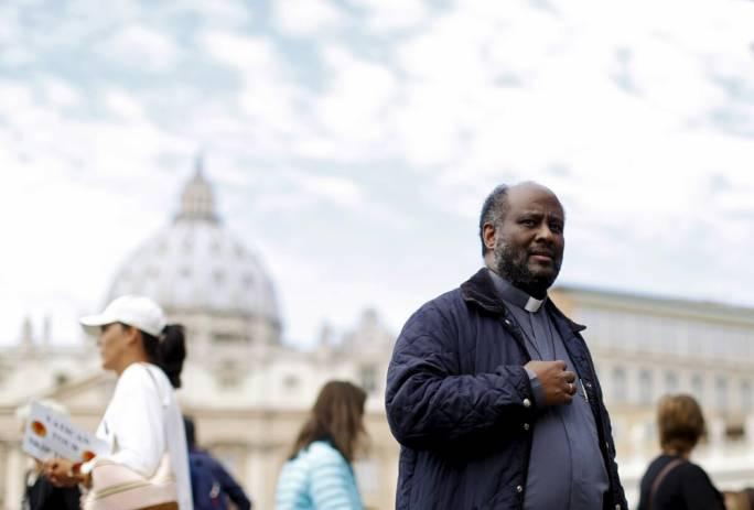 Fr Moses (Moussa) Zerai outside the Vatican