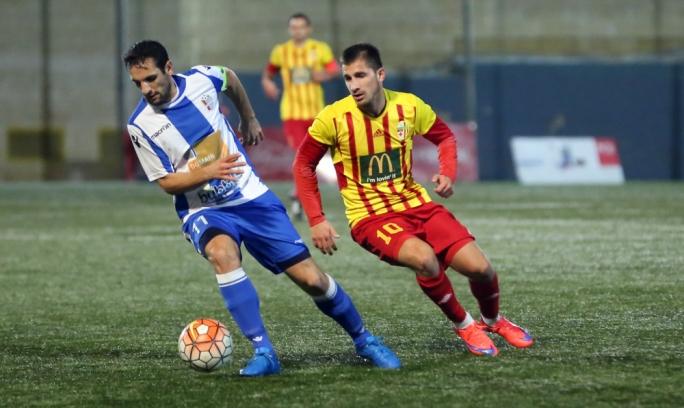Srdan Dimitrov of Birkirkara challenging Kurt Magro for the ball. Photo: Dominic Borg