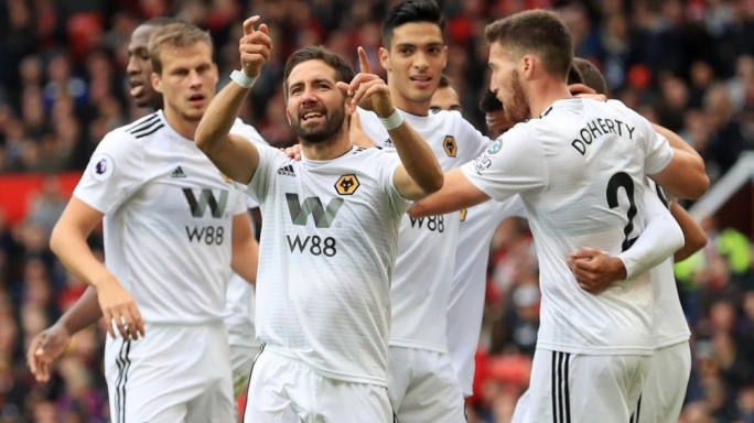 Joao Moutinho celebrating after equalising for Wolves