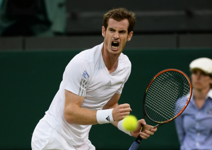 Andy Murray of Britain celebrates after beating Kevin Anderson of South Africa in their fourth round match during the Wimbledon Championships at the All England Lawn Tennis Club, in London, Britain. Photo by EPA/ANDY RAIN