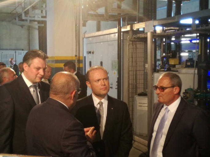 Minister Konrad Mizzi, Prime Minister Joseph Muscat tour the new water treatment plant in Ta' Cumnija